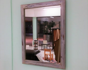 Wall mirror with shabby chic finish