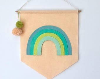 Rainbow + Pom Poms Kid's Room Banner - Custom Colors Available