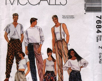 McCall's 7684 1-Hour Crazy Baggy Pants Men's/Women's Large/Extra Large Uncut