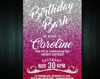 16th Birthday Invitation | Adult Birthday Invite | Digital File | Any Age Invitation