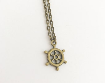 Handmade Ship Wheel Nautical Ocean Bronze Coated Necklace