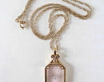 Vintage Avon Frostlights Pendant Necklace - Pink Camphor Glass Style Necklace - Art Deco Style Necklace - Frosted Glass Necklace - 1970s