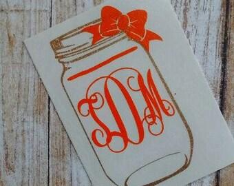 Mason Jar Decal/Mason Jar Sticker/Mason Jar Monogram/Canning Jar Decal/Canning Jar/Country Monogram/Sweet Tea Decal/Monogram/Decal/HTV Decal