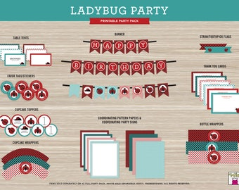 Ladybug, Birthday, Printable, Party, Banner, Table Tent, Favor Tag, Stickers, Cupcake Topper -  Invite must be purchased separately