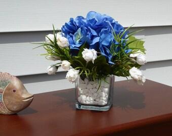 Blue Hydrangea blossom, Blue and white floral arrangement, Silk hydrangea
