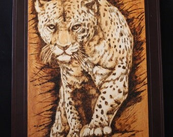 Pyrography Leopard with leather frame