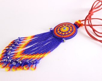 Beautiful Mexican Necklace, Huichol Necklace, Ethnic Necklace, Native American, Seed Bead Necklace