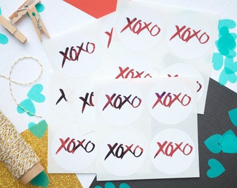 16 XOXO Stickers, Valentines Day Stickers,Hugs and Kisses,Foil Stickers,Pink Foil,Wedding Favors,Goodie Bags,Glossy Stickers,Envelope Seals,
