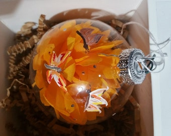 Hand painted glass ornament.spring Butterflies and Flowers