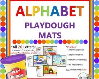 ABC, Play Dough Mats, A-Z, Alphabet, Preschool, Homeschool, Play Mat, Activity Mat, Playdough, ABC Flashcards, Playdoh, Letter Act