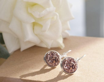 Rose Gold Druzy | Silver Plated | Drop Earrings