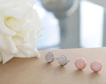 Rose Quartz Earrings | Rose Gold | Silver Studs