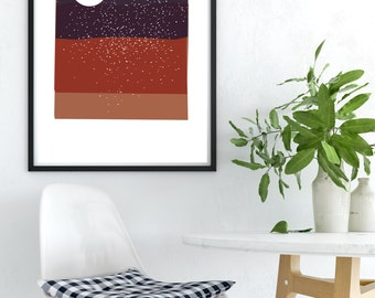 Starry Night print, abstract art, PRINTABLE wall art print, living room art, bedroom art print, instant download art, night print, desert