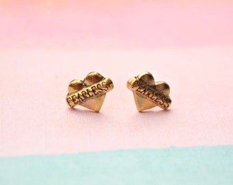 Fearless earrings Feminist earrings gold feminist stud earrings gold earrings feminist jewellery strong woman heart earrings tattoo style
