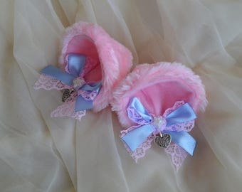 Kitten play clip on cat ears with lace and ribbon bows - neko lolita cosplay costume - kitten play gear accessories - pastel pink