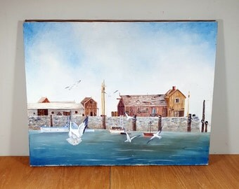 """VINTAGE NAUTICAL PAINTING Original Oil Painting on Canvas of Harbor Scene 18""""x14"""" 1970s Beach Cottage Blue Art Wall Decor"""