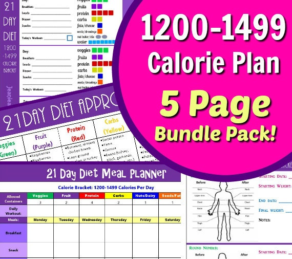 21 Day Diet 1200-1499 Calories Fix Your Bod with our 5 Page