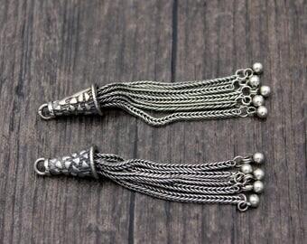 1PC- Sterling Silver Tassel Charm,Sterling Silver Chain Tassel Pendant,Tassels for earrings for necklace,Tassel jewelry