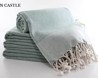 Double Sided | Turkish Bath Towel  | Teal Green | Turkish Towel | Peshtemal | Bathroom Decor | Extra Thick | Super Soft | Mon Castle
