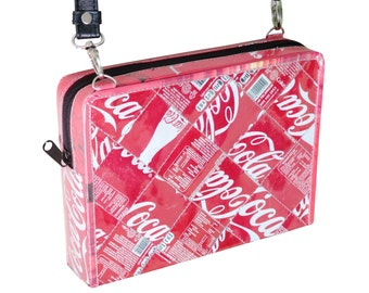 Coca Cola Handbag, Medium zip crossbody bag - FREE SHIPPING - gift for Coca Cola lover, vegan gift, upcycling by milo, naveh milo