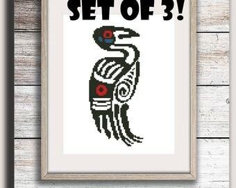 Gift for boy Set of 3 patterns Aztec pattern Cross stitch pattern PDF stitch chart Bird Modern cross stitch Ethnic style Ethnic wall decor
