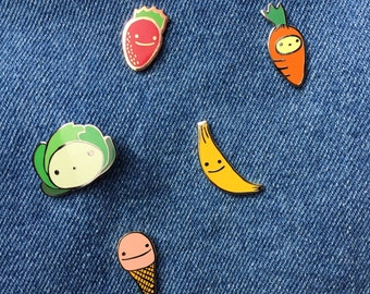 Five Happy Hard Enamel Pins: Strawberry, Banana, Carrot, Cabbage, and Ice Cream!