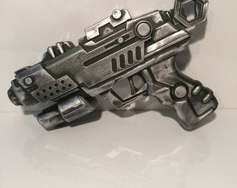 Steampunk Cosplay Foam Blaster Ray Gun, Steam Shooter Hand Painted Prop Gun Silver