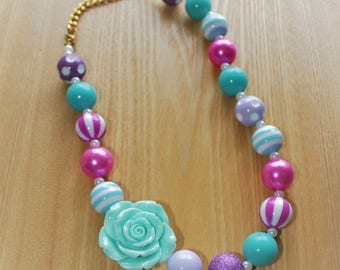 Light Blue Flower Pendant with Pink and Purple Accents Chunky Bead Necklace