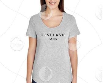 "Womens - Girls - Scoop Neck Premium Retail Fit ""C'est La Vie"" Fashion Tee"