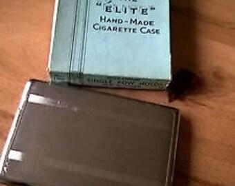 Vintage Boxed Chrome Emu Brand Elite Handmade Cigarette Case - 60s - Sylva