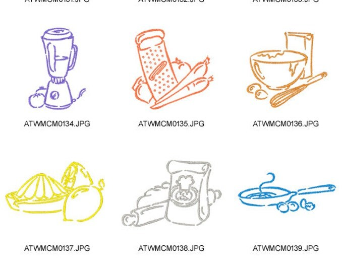Outline-Kitchen-Things. ( 10 Machine Embroidery Designs from ATW )