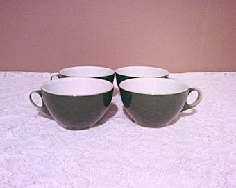 Vintage restaurant ware set of four green coffee cups by Jackson China Falls Creek PA