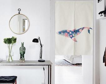 Japanese Noren Doorway Curtain / Tapestry  with Flower Shark