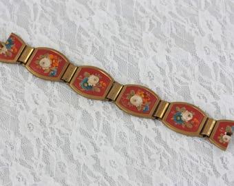 Art Deco Painted Panel Bracelet, Hand Painted Flower Panel Bracelet, Antique Red Panel Bracelet, Vintage Floral Bracelet, Roses Bracelet