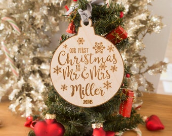 Christmas Ornaments - Our First Christmas Ornament Married - Ornaments - Newlywed Ornament - Christmas Decorations - Christmas Decor - Gift