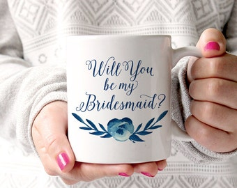 Bridesmaid Proposal Watercolor Floral Mug - Will You Be My Bridesmaid - Custom Coffee Mug - Bridesmaid Mug - Cotton Blossom Watercolor Mug
