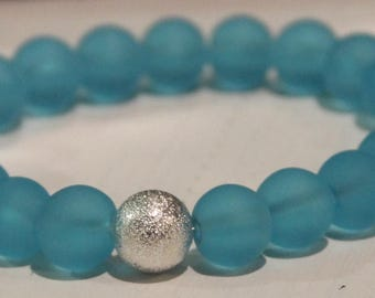 Blue Sea Glass Beaded Bracelet