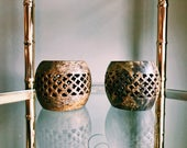 Pair of Vintage Latticework Soapstone Tea Light Candle Holders / Made In India