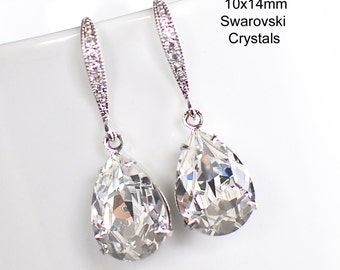 Handmade Small Swarovski Clear Teardrop Dangle Bridal Earrings, Bridal, Wedding (Sparkle-2213)