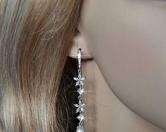 Handmade Long Cubic Zirconia CZ Starfish and Swarovski Teardrop Pearl Dangle Bridal Earrings, Wedding (Pearl-491)