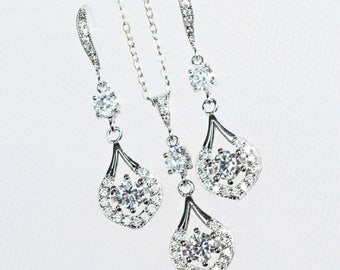 Handmade Cubic Zirconia CZ Teardrop Dangle Bridal Earrings & Necklace Set, Bridal, Wedding (Sparkle-2361)