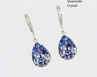 Handmade Small Swarovski Provence Lavender Teardrop Dangle Bridal Earrings, Bridal, Wedding (Sparkle-2366)