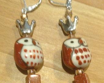 Brown Owl Earrings Silver Bird Earrings Silver Owl Earrings Owl Jewelry Goldstone Owls with Crowns Crown Earrings Gift for Her Whimsical