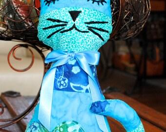 Patch Kitten, Stuffed Cat, Stuffed Kitten, Blue Patchwork Kitty, Baby Gift, Blue Stuffed Cat, Blue Stuffed Kitty