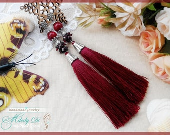 Gift for woman Burgundy tassel earrings for lady Woman boho earrings Gift for girlfriend Fringe long earrings Red tassel jewelry burgundy
