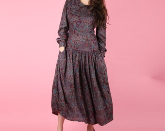 Late 70s Vintage Psychedelic Paisley Dress