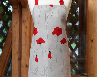 Linen cotton apron Poppies, kitchen apron for women with flowers, cute apron, cooking apron