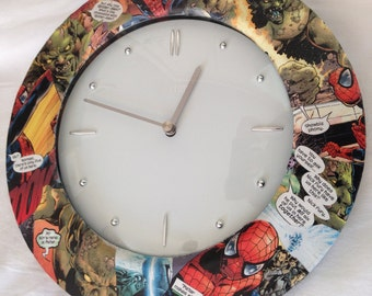 Spiderman Clock with The Green Goblin, Clock for Kids Room, Wall clock