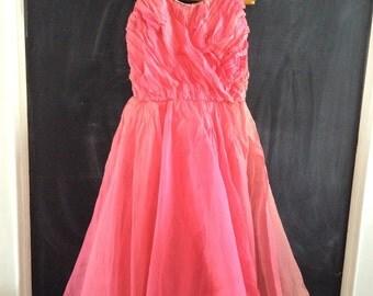 M-Verdi Vintage 1950's Prom Dress - Monroe Style, Hot Pink - Crystal Straps