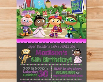 Super Why Birthday Invite - Pink Chalkboard - Girl Super Why Invitation - Super Why Party - Super Why Party Printable Super Why Party Favor